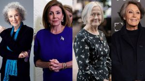 De izquierda a derecha, Margaret Atwood,Nancy Pelosi,Brenda Hale yRosa Maria Mateo.