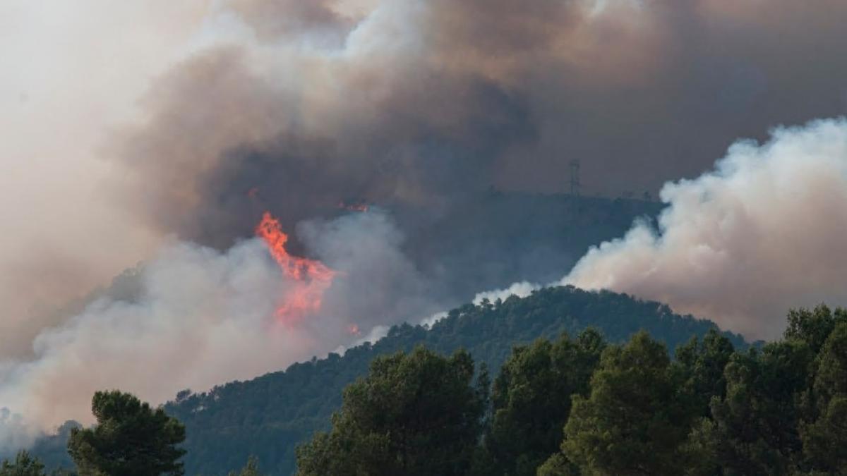 Vista del incendio que este domingo sigue quemando en Conca de Barberà y Anoia.