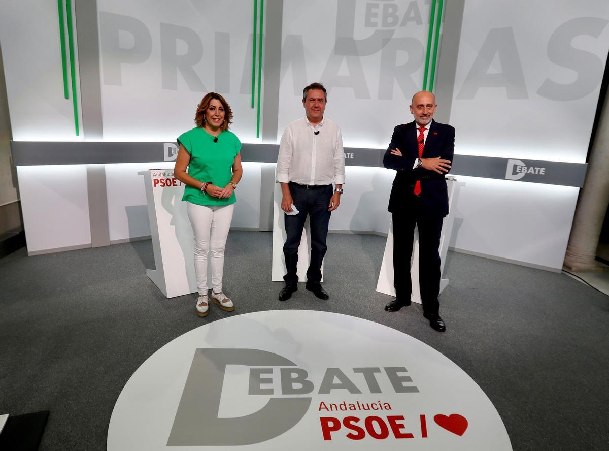 Susana Díaz, Juan Espadas y Luis Ángel Hierro, el pasado 8 de junio en el único debate entre los tres candidatos de las primarias del PSOE-A a la Junta.
