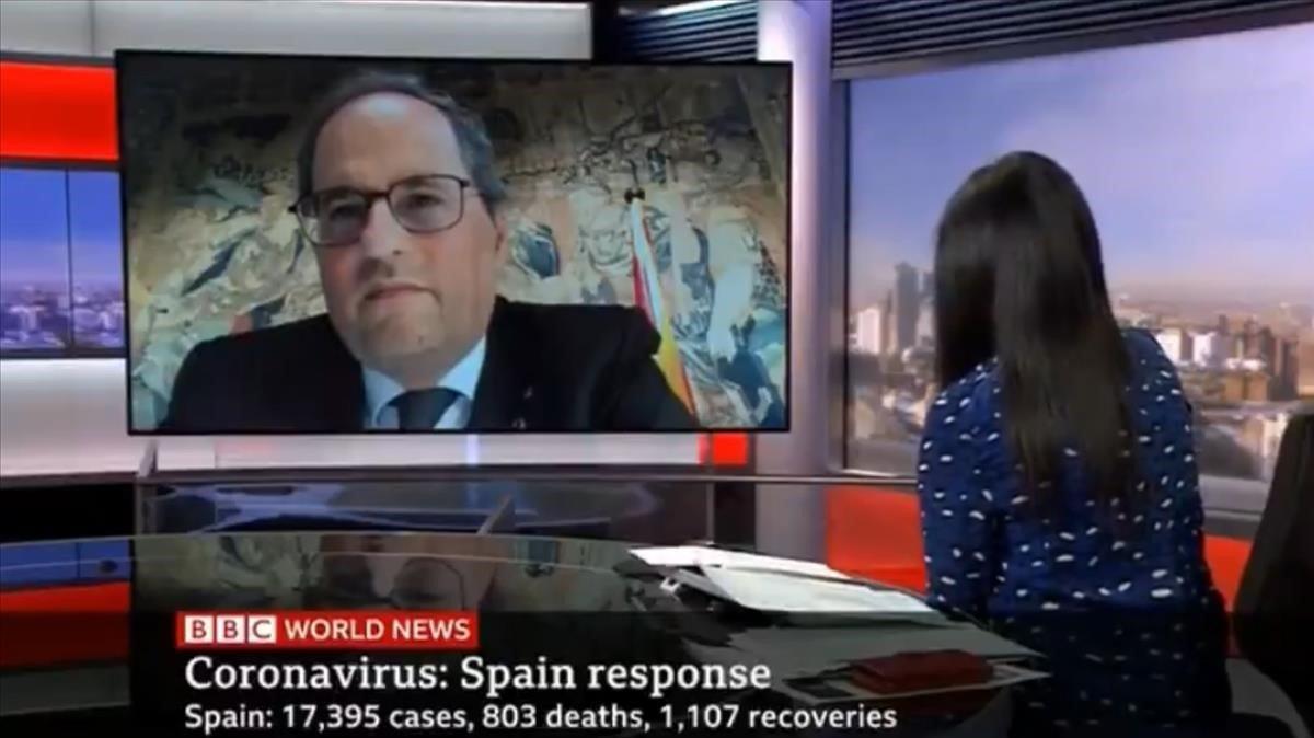 El 'president', Quim Torra, entrevistado en la BBC por el coronavirus