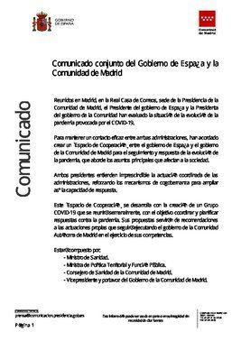 Comunicado del Gobierno central y de la Comunidad de Madrid para crear un espacio de colaboración frente al covid-19, de 21 de septiembre de 2020.