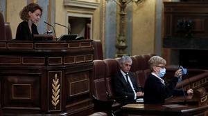 Un momento de la sesión de control al Ejecutivo del 27 de mayo, presidida porMeritxell Batet en elCongreso de los Diputados.