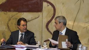 El 'president', Artur Mas, junto a Germà Gordó, durante un Consell Executiu.