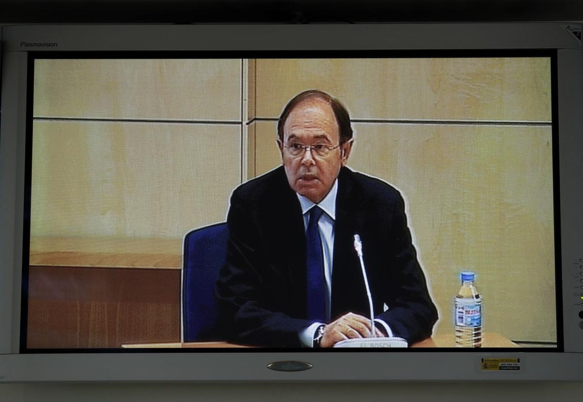 Imagen del monitor de la sala de prensa de la Audiencia Nacional de San Fernando de Henares del presidente del Senado.