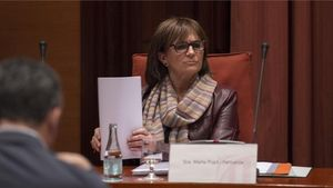 Marta Pujol Ferrusola, durante su comparecencia ante la 'comisión Pujol' del Parlament.