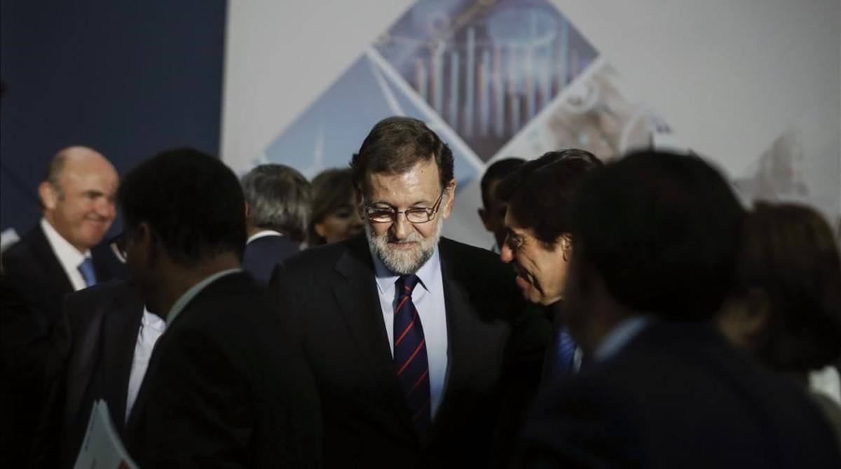 Mariano Rajoy, este miércoles a su llegada a la Cámara de Comercio.
