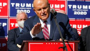 Former New York City Mayor Rudy Giuliani, personal attorney to U.S. President Donald Trump, speaks after media announced that Democratic U.S. presidential nominee Joe Biden has won the 2020 U.S. presidential election, in, Philadelphia, Pennsylvania, U.S., November 7, 2020. REUTERS/Eduardo Munoz