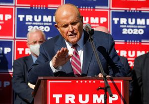 Former New York City Mayor Rudy Giuliani, personal attorney to U.S. President Donald Trump, speaks after media announced that Democratic U.S. presidential nominee Joe Biden has won the 2020 U.S. presidential election, in, Philadelphia, Pennsylvania, U.S., November 7, 2020. REUTERS/Eduardo Munoz