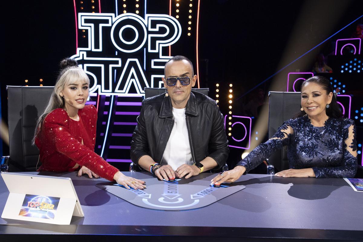 Danna Paola, Risto Mejide e Isabel Pantoja, mentores de 'Top Star', el nuevo talent de Telecinco.