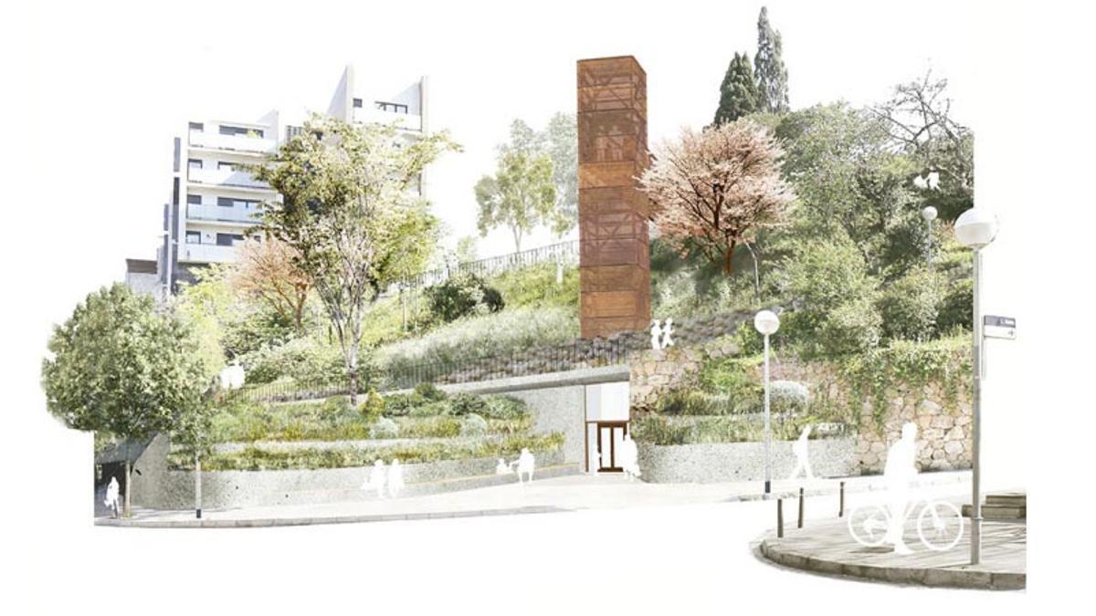 Imagen virtual del ascensor que unirá República Argentina con la avenida de Vallcarca
