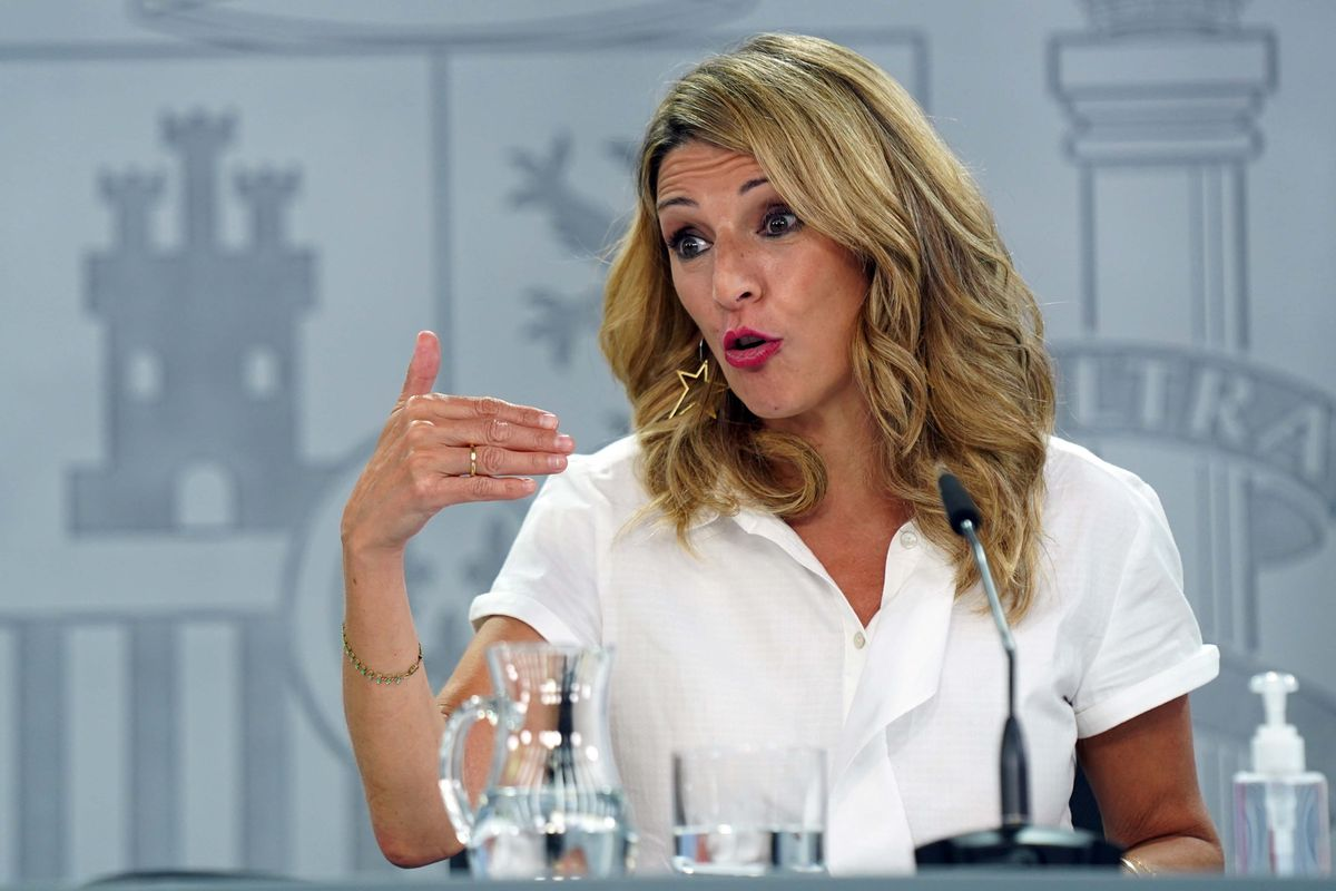 La vicecepresidenta tercera y ministra de Trabajo y Economía SocialYolanda Díaz  durante la rueda de prensa que ha ofrecido tras la reunión del Consejo de Ministros.
