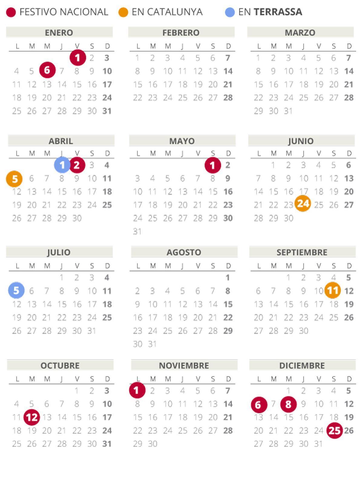 Calendario laboral de Terrassa del 2021 (con todos los festivos)