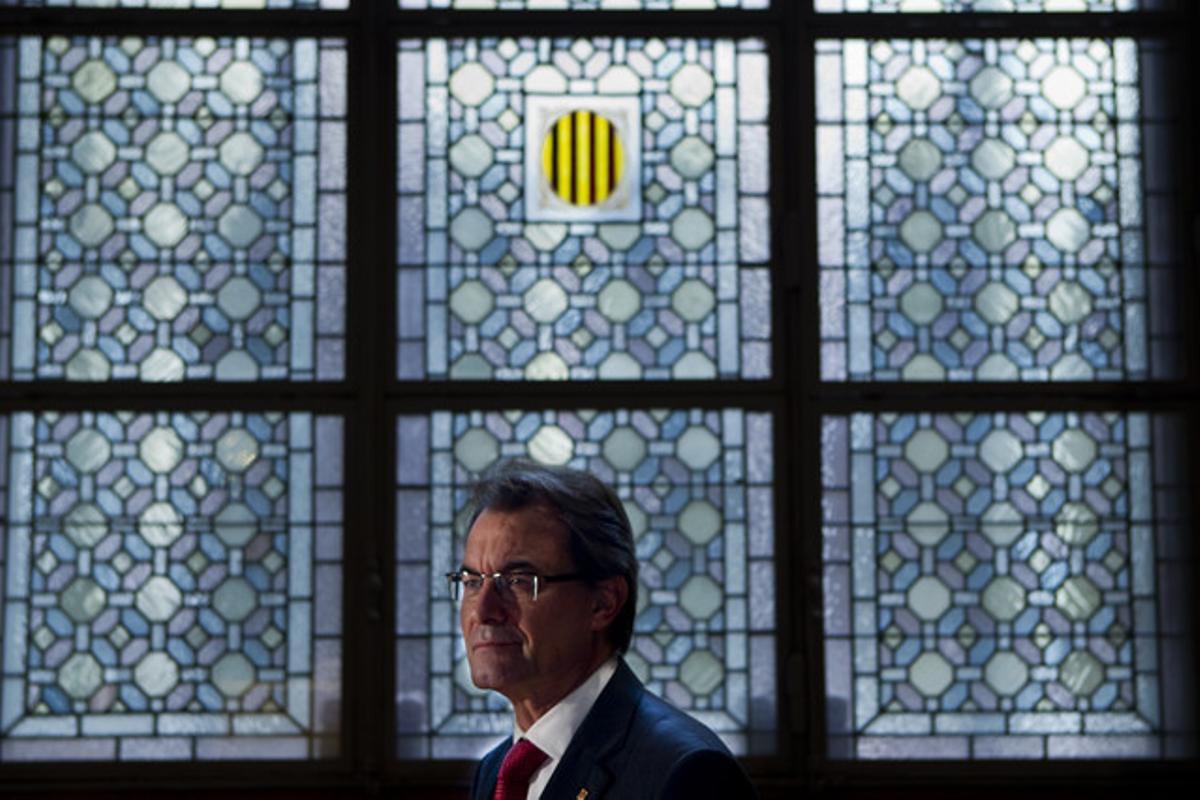 Artur Mas, en el Palau de la Generalitat, después de la entrevista