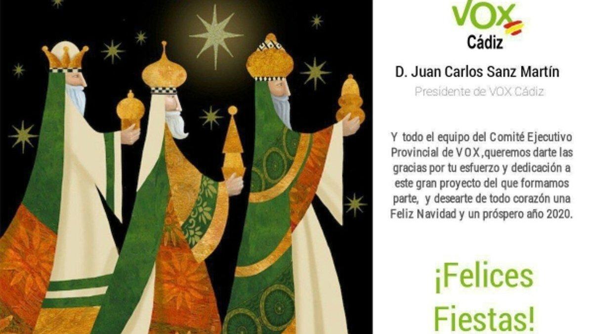 La primera felicitación navideña de Vox Cádiz, con los tres Reyes Magos blancos.