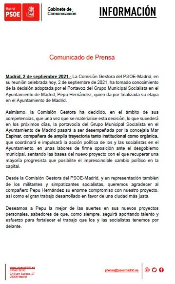 Declaración del directivo del PSOE-M tras la dimisión de Pepu Hernández