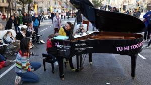 La calle de Aragó, el pasado 8 de marzo, último domingo antes del estado de alarma.