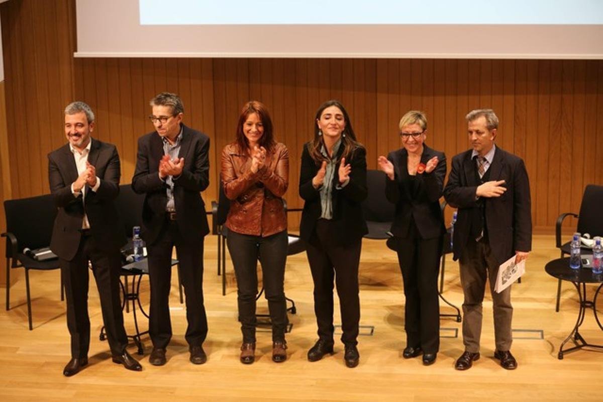 Los seis candidatos en las primarias del PSCde Barcelona, en el debate del Ateneu Barcelonès