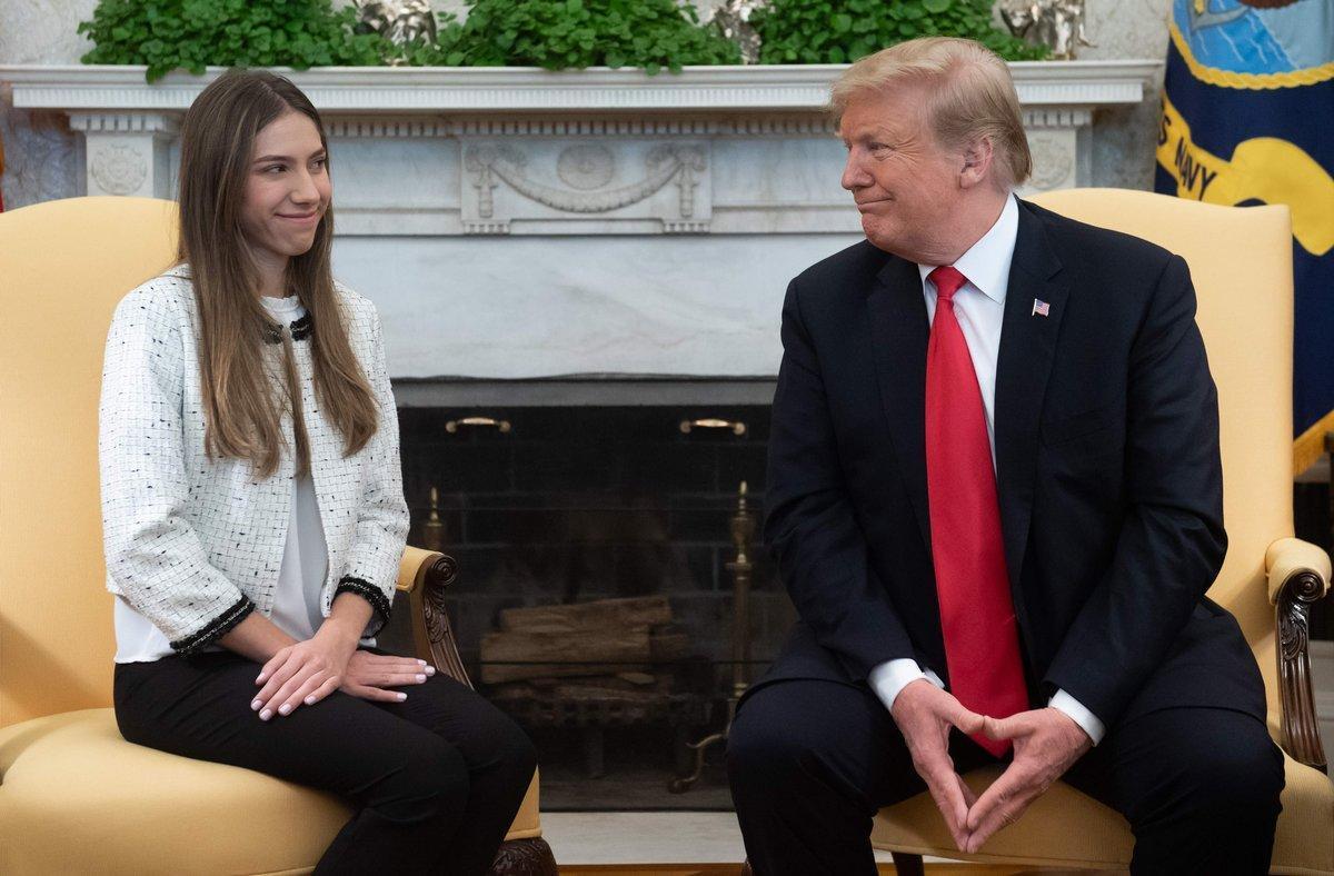 Donald Trump, presidente de los EEUU yFabiana Rosales, esposa de Juan Guaidó.