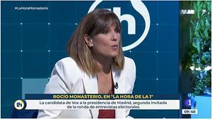 Mònica, en la entrevista del 26 de abril (TVE).