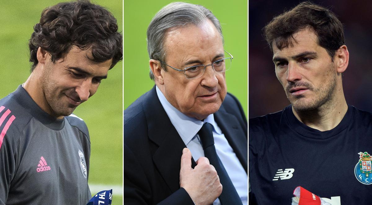 Raúl González, Florentino Pérez e Iker Casillas.