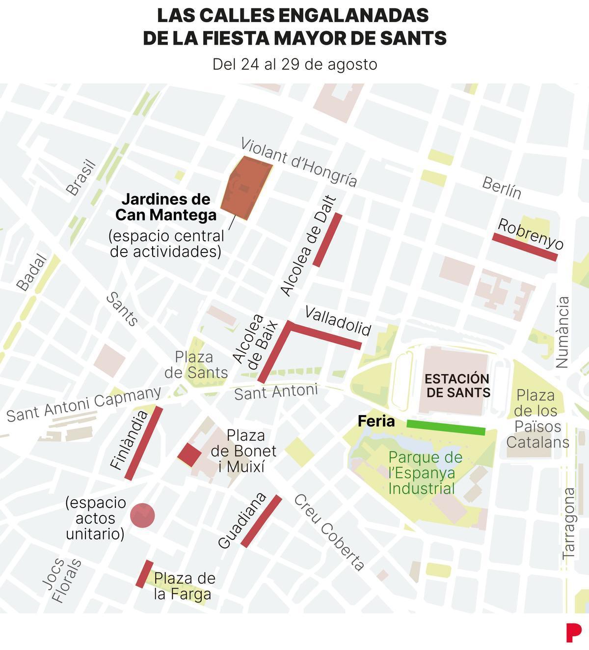 Festa Major de Sants: mapa de actividades, calles adornadas y cortadas
