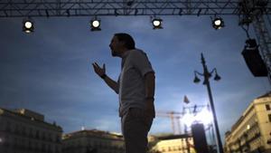 Pablo Iglesias en la concentración en la Puerta del Sol (Madrid) en apoyo a la moción de censura.