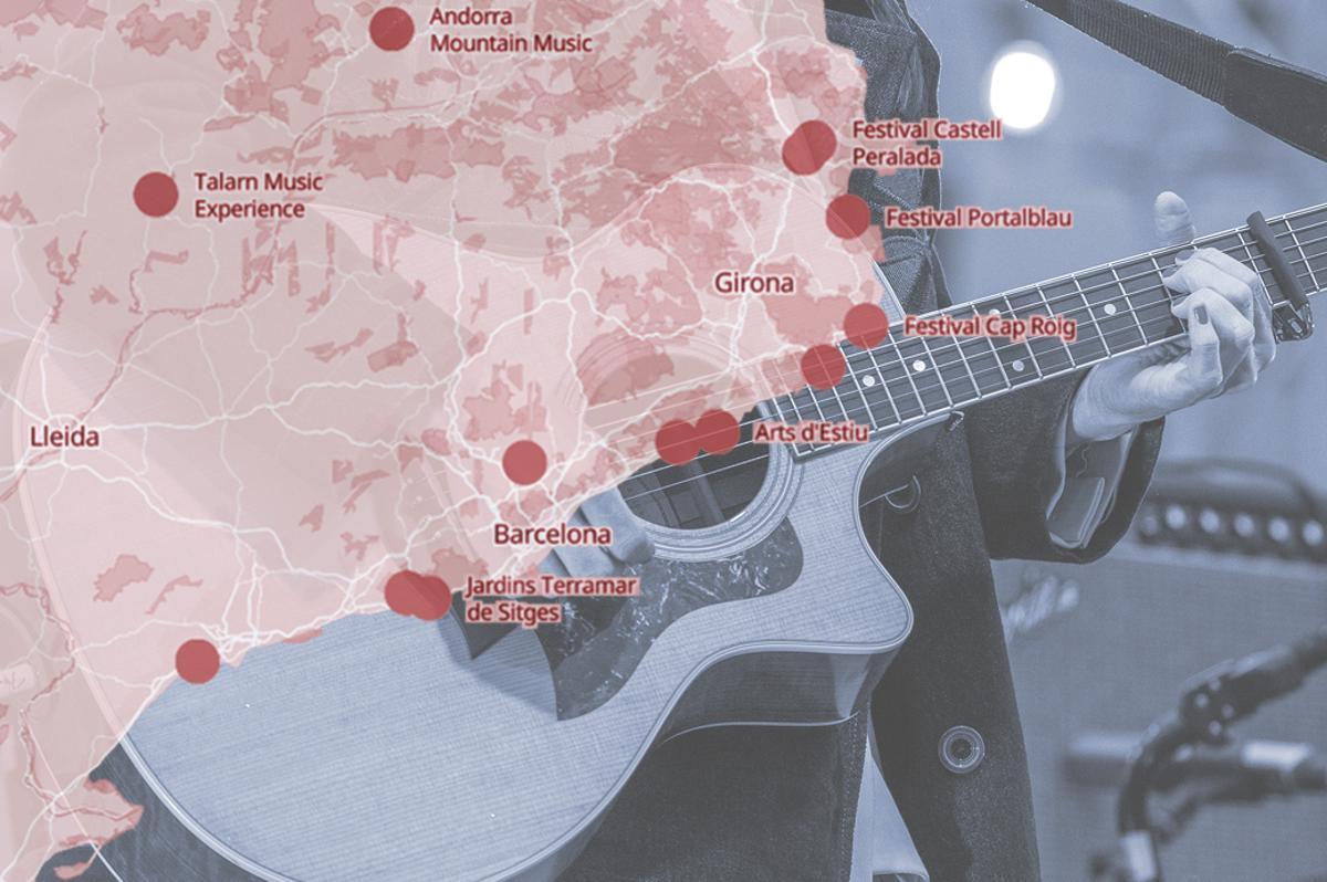 Mapa de los festivales de música de este verano en Catalunya