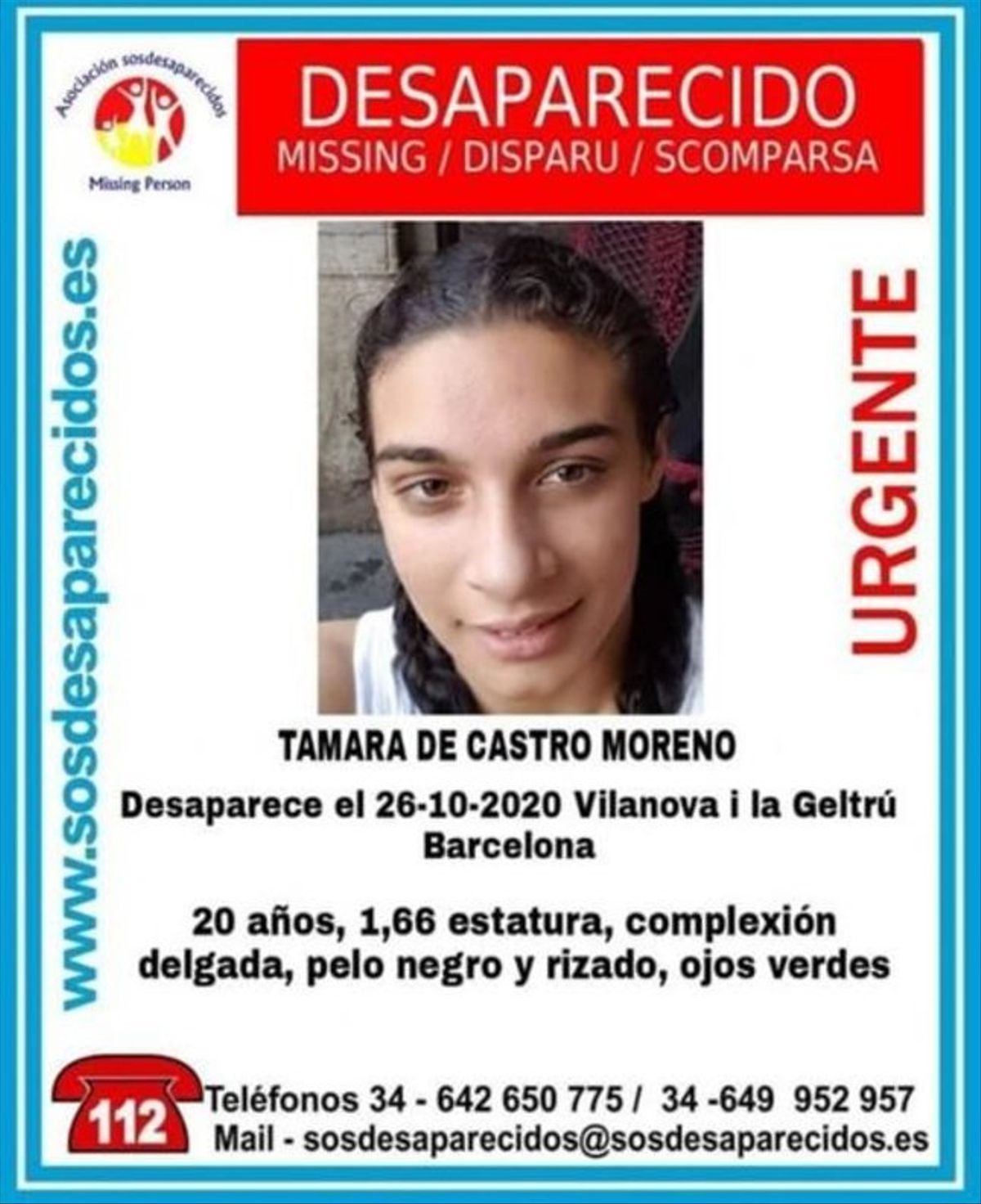 Alerta difundida por Sos Desaparecidos para buscar a la joven, cuyo rastro se perdió el pasado 26 de octubre en Vilanova i la Geltrú.