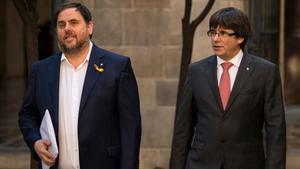 Oriol Junqueras y Carles Puigdemont, en una imagen de octubre del 2017