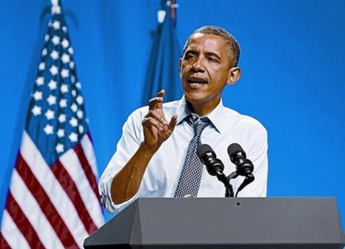 Barack Obama, durante un acto de campaña en Nueva Orleans.