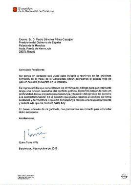 Carta de Quim Torra a Pedro Sánchez, instándole a abordar los términos del diálogo.