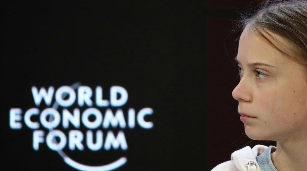 La activista climáticaGreta Thunberg durante su intervención ante el Foro Económico de Davos.