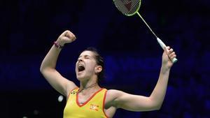 Carolina Marín, en éxtasis tras ganar un partido.