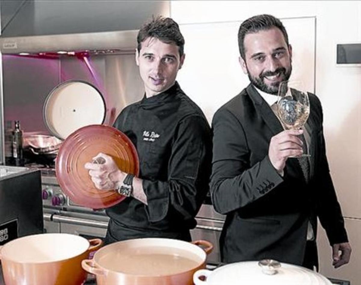 El chef Fran López y el sumiller Javier Campo, el miércoles en Barcelona.