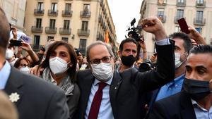 Quim Torra abandona el Palau de la Generalitat tras dejar de ser presidente del gobierno catalán, el 28 de septiembre pasado.
