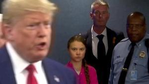 Greta Thunberg mira pasar a Donald Trump al coincidir en la ONU, el pasado septiembre.