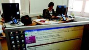 Departament de serveis d'informàtica de la Universitat Rovira i Virgili de Tarragona, ahir.