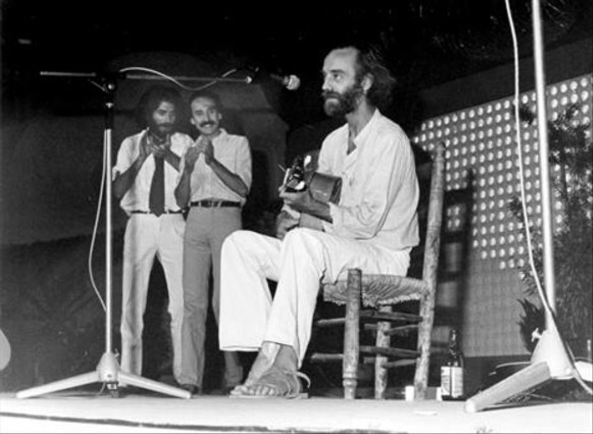 Con Joaquín Sabina Alberto Pérez en Málaga (1981).