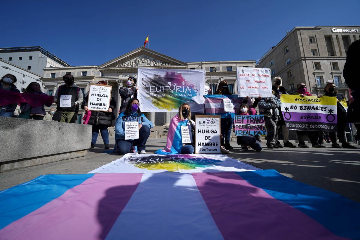El colectivo pro Ley Trans Euforia durante una concentración frente al Congreso de los Diputados.