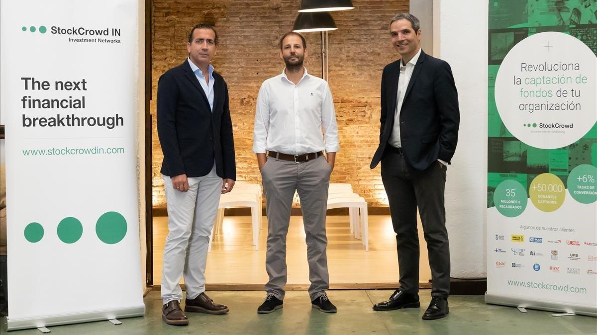 Javier Villacampa, Sergi Pallarès y Javier Tordable,directivos de StockCrowd