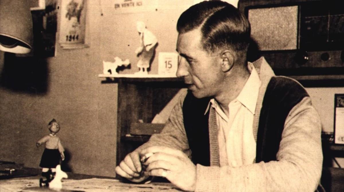 George Rémi, Hergé, fotografiado en su estudio en 1949.