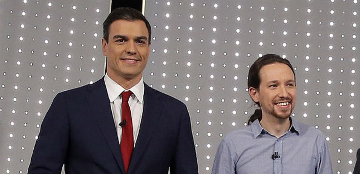 Pedro Sánchez y Pablo Iglesias, durante el debate a cuatro celebrado en Antena 3 y La Sexta.