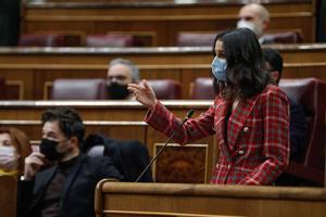 MADRID, 18/11/2020.- La líder de Ciudadanos, Inés Arrimadas, durante su intervención en la sesión de control al Ejecutivo, este miércoles en el Congreso. EFE/ Emilio Naranjo