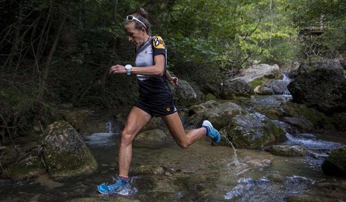 Núria Picas, entrenando en la zona de la Font Negra de Berga.