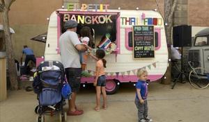 Una 'food truck' en el parque de la Ciutadella.