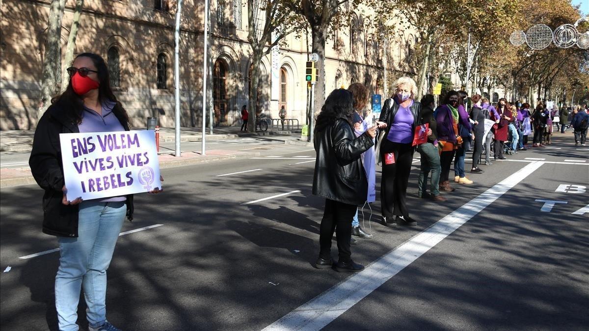 Cadena feminista en Barcelona, el pasado 22 de noviembre.
