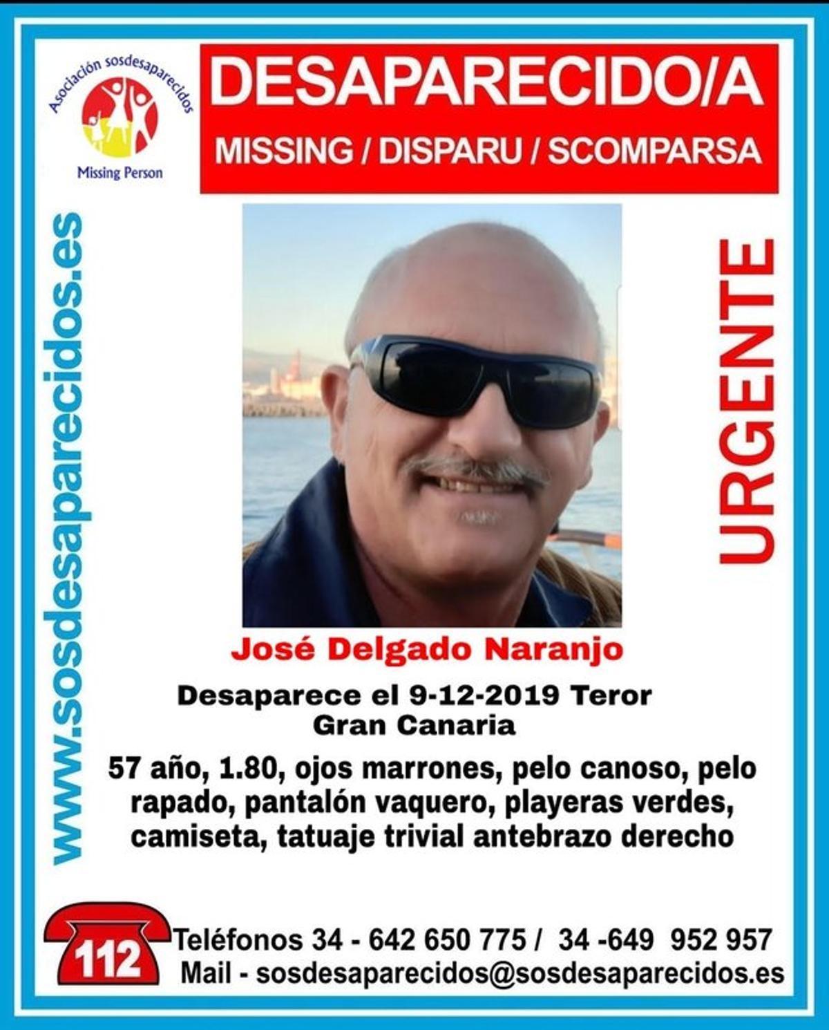 Imagen de José Delgado, desaparecido en Gran Canaria.
