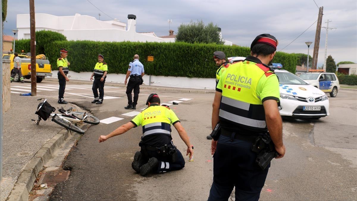 Lugar en el que se ha producido el atropello mortal de un ciclista, en Sils, este miércoles.