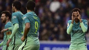 Neymar celebra el gol, el segundo que marca en los tres últimos partidos de Liga.