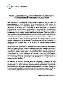 Comunicado del Cercle d'Economia reclamando elecciones inmediatas en Catalunya